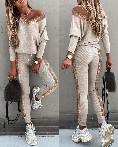 Sequins Patchwork Long Sleeve Top and High Waist Pants Sets CODE: KAR815