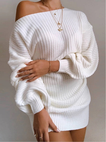 Ladies casual off-shoulder lantern sleeve sweater dress CODE: KAR818