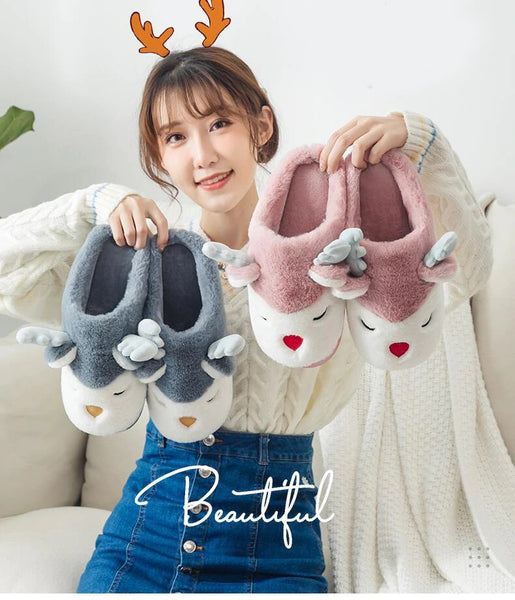 Winter House Slippers Cartoon Elk Deer Non-slip Soft Warm Home Shoes CODE: KAR820