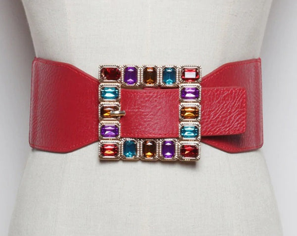 Colorful Rhinestone Square Buckle Belts CODE: KAR826