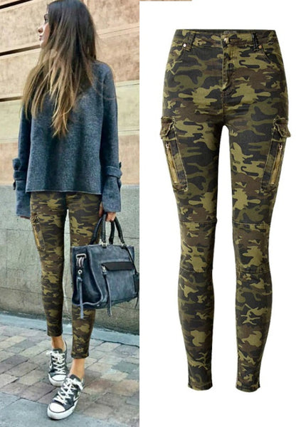 Camouflage Pockets Vintag e Trousers Mujer Push Up Denim Pencil Pants CODE: KAR855