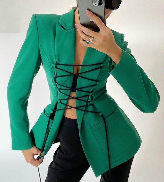 Long Sleeve Bandage Blazer Autumn Winter  CODE: KAR859
