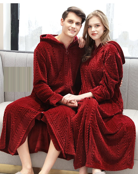 Plus Size Long Warm  Night Dressing Gown Women and  Men Sleepwear CODE: KAR863