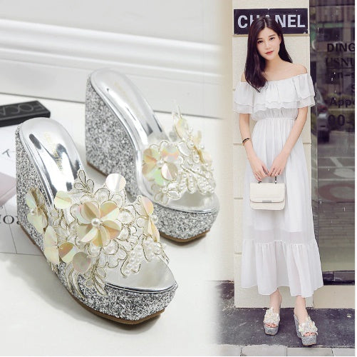 Women slides elegant lace embroider women slides elegant lace embroider CODE: KAR88