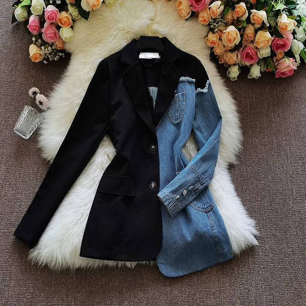 Denim Spliced Blazer Jacket Women Single Breasted Lapel CODE: KAR904