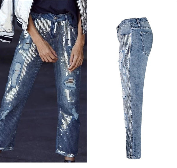 Sequin hole ripped jeans CODE: mon1044