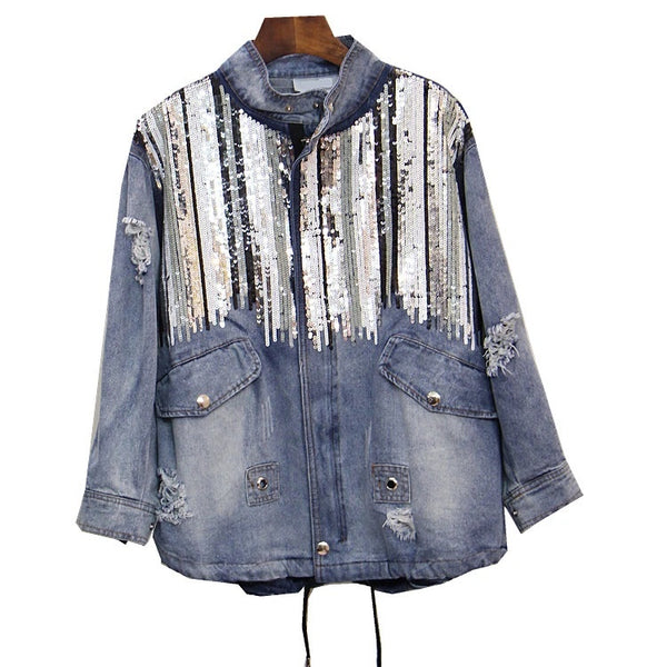 Loose beads large size sequined denim jacket CODE: mon845