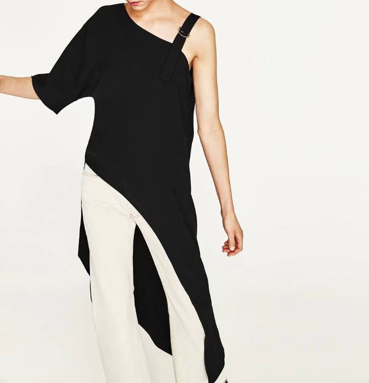 Monrsh Women's One Sided Sleeve Asymmetric Top CODE:MON859