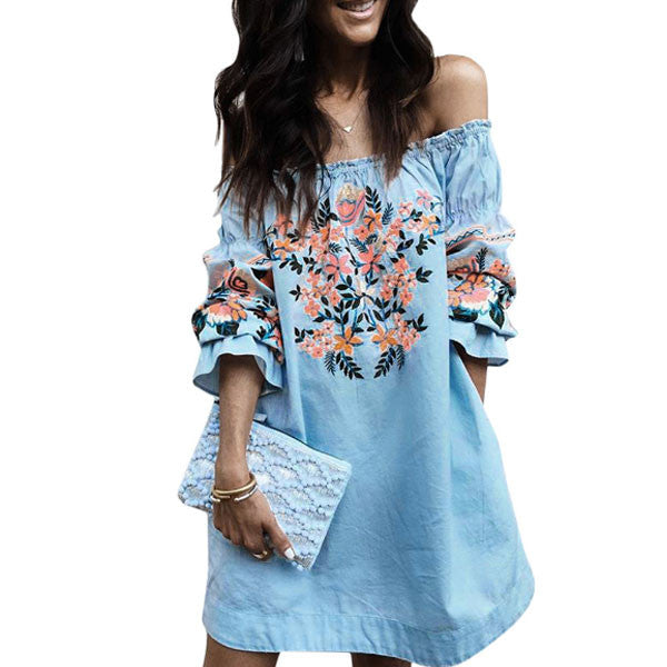 Blue Offshoulder straight Dress CODE: mon2079