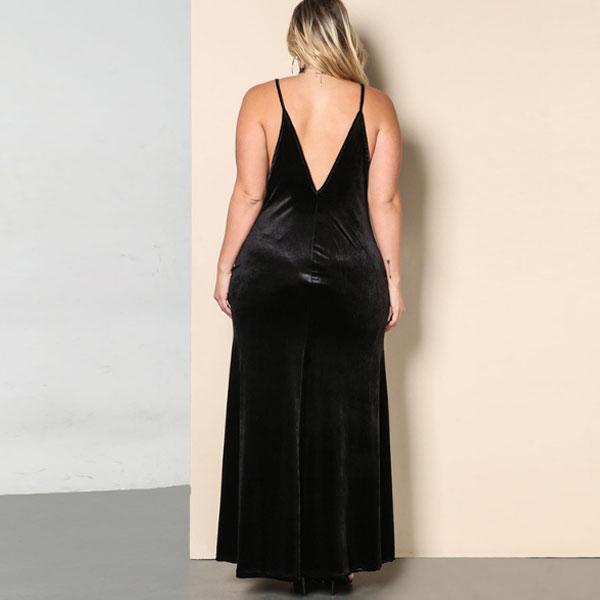 Black Spaghetti Strap Solid Maxi Dress CODE: mon2089