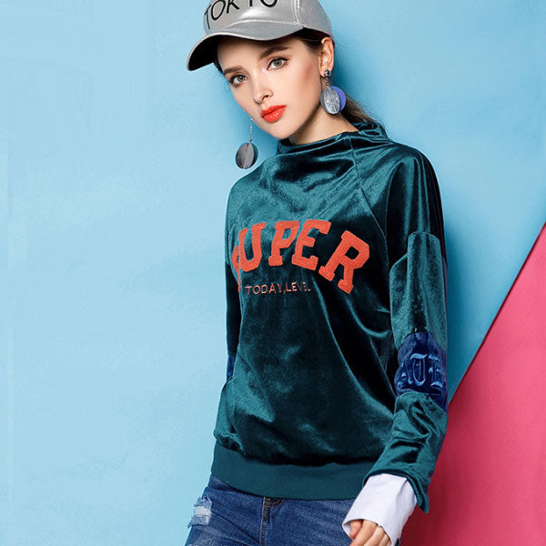 Green Hooded Letter Pullover Top CODE: mon2103