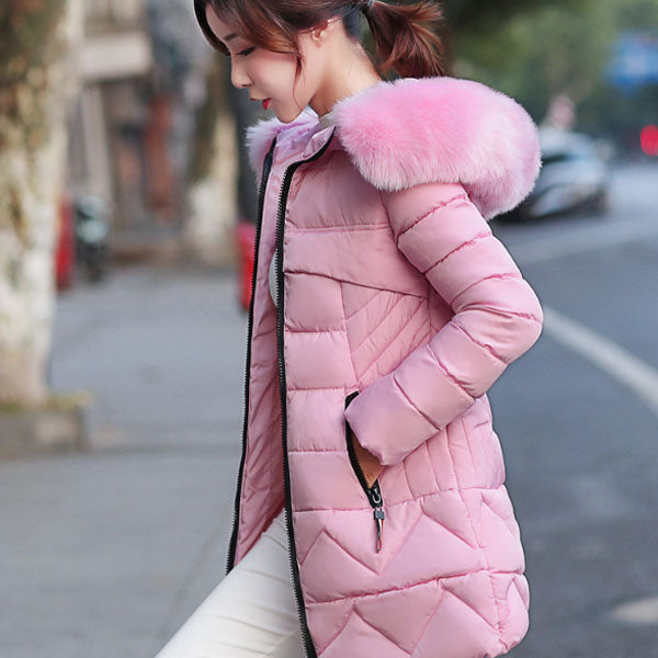 Lovely Hooded Solid Cotton Padded Coat CODE: mon2114