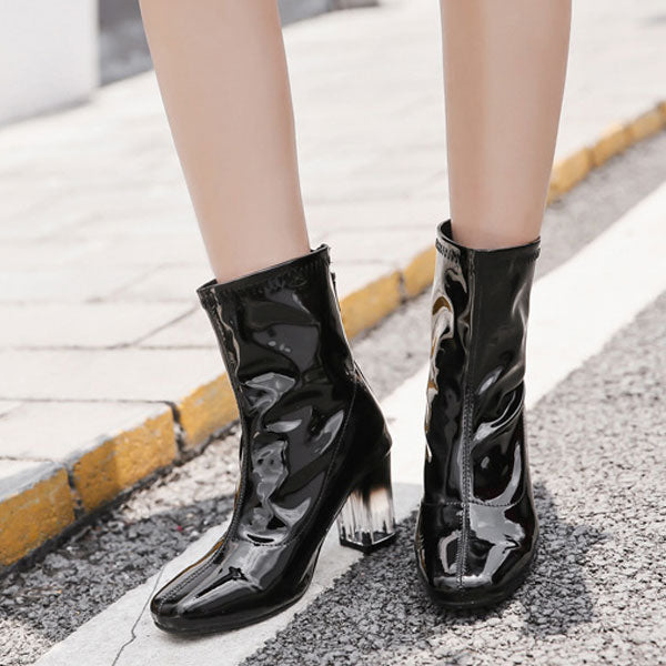 Sweet Apricot / Black  Solid Patent  Boots CODE: mon2117