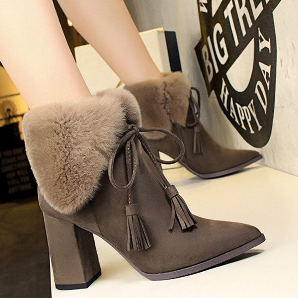Cute Fur Solid Flock Boots CODE: mon2119