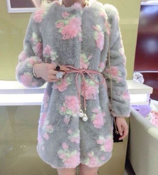 Gray flower pearl lace-up faux fur coat CODE: mon2134