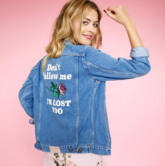 Embroidered plus size Denim Jacket