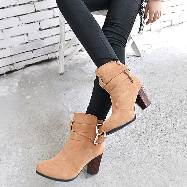 zipper metal belt buckle Boots CODE: mon614