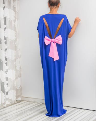 fashion loose back bow tie long maxi dress CODE: mon639