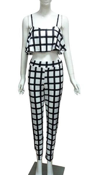 lack and white Printed Fiber Two-piece Pants Set CODE: mon654