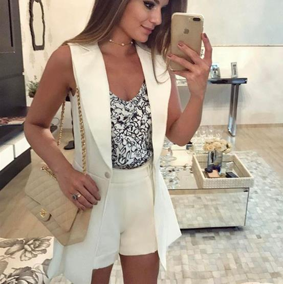 White sleeveless  small jacket set suit CODE: mon660