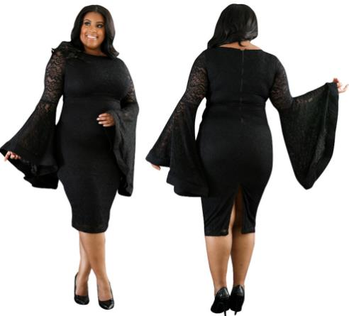 Plus size sexy lace dress trumpet sleeves CODE: mon662