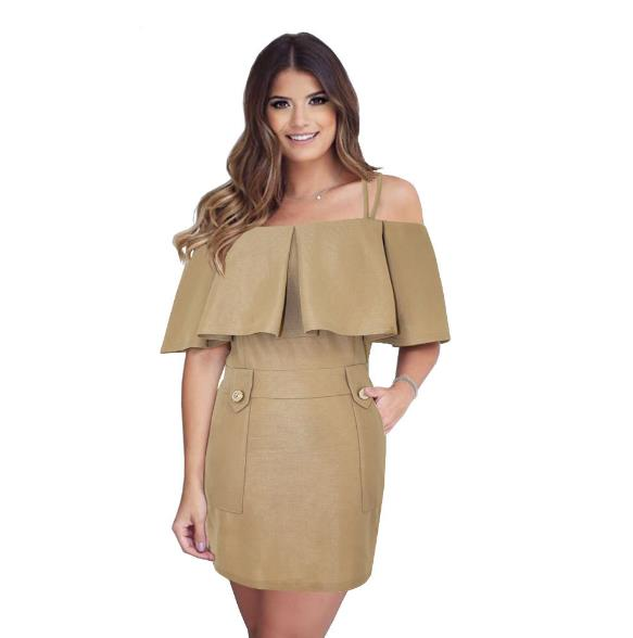 Brown strapless sexy pocket pack dress CODE: mon664