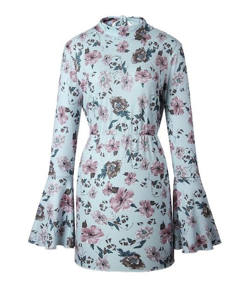 Floral printed backless with long sleeves dress CODE: mon668