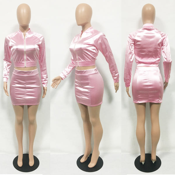 casual pink two-piece suit set CODE: mon669