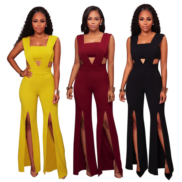Sexy deep  wrapped chest Slit jumpsuit CODE: mon673
