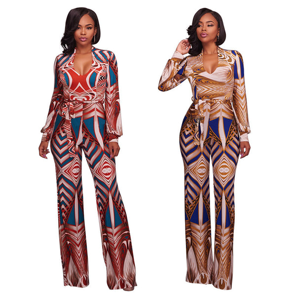 Digital printing V-neck long sleeve  jumpsuit CODE: mon674