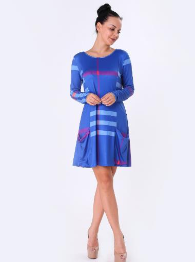 large size lattice printed pocket dress CODE: mon693