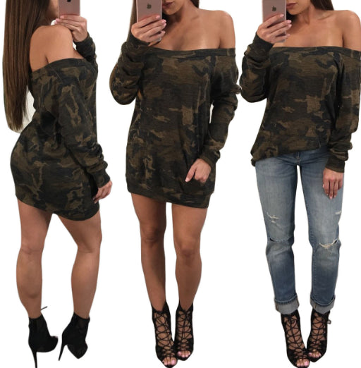 camouflage long sleeves mini dress / Top CODE: mon707