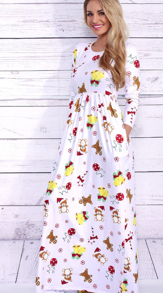 Cute Christmas Print long maxi dress CODE: mon710