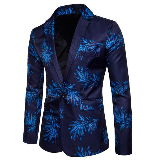 Men's blue flowers digital long sleeve suit jacket CODE: mon711