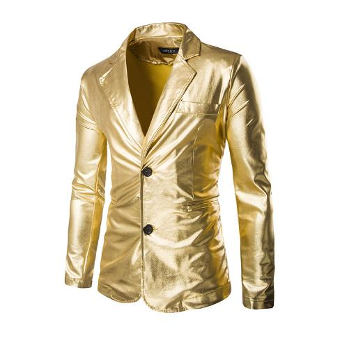 Men's bronzing glamorous Slim  buckle small suit CODE: mon712