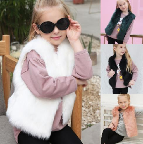 Cute imitation fur vest children's fashion CODE: mon729