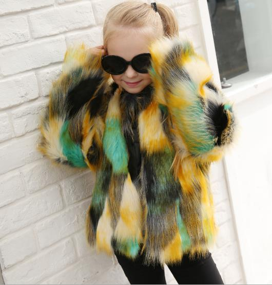 gradient color imitation fur children coat CODE: mon730