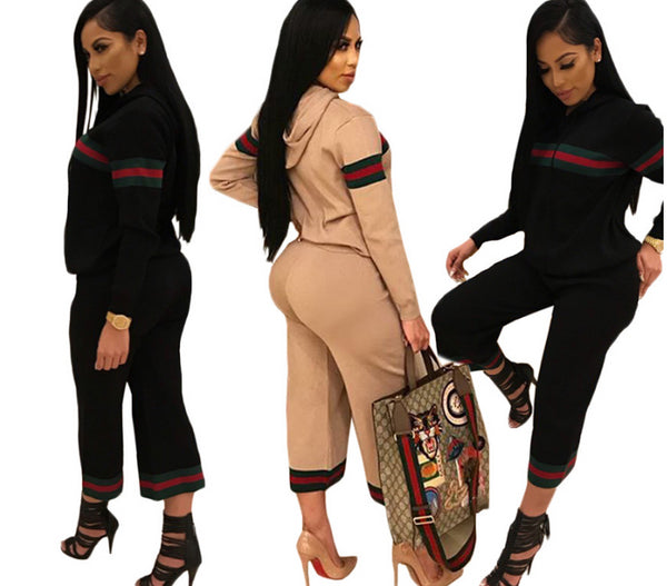 Leisure Hooded Collar Two-piece Pants Set CODE: mon731