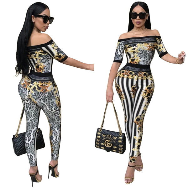 Leopard black and white striped jumpsuit CODE: mon735