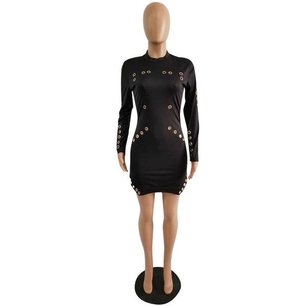 eye hollow tight sexy long sleeves dress CODE: mon749