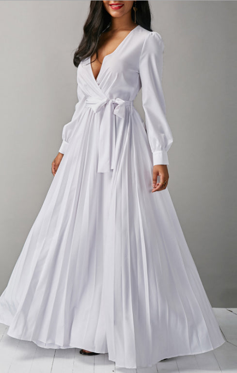 V-neck fashion white pleated sexy long dress CODE: mon754