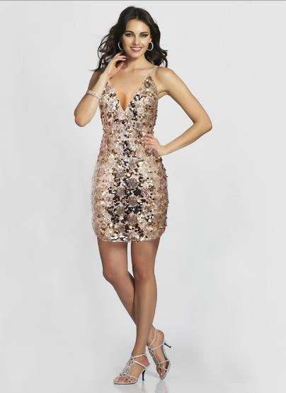 sequined deep V-neck straps hip dress CODE: mon761