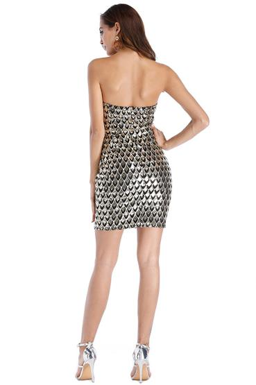 topless strapless bag hip sequined dress CODE: mon765