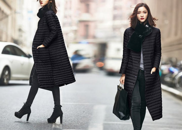 Light coat exceed knee down coat CODE: mon123