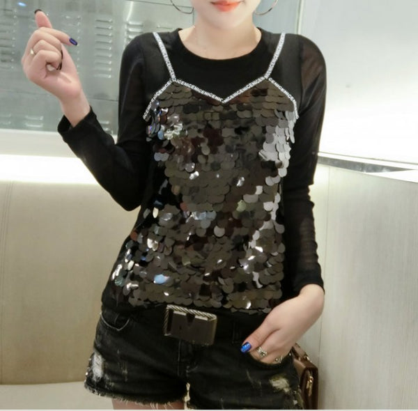 slim T-shirt sequins Pseudo-two tops CODE: mon125
