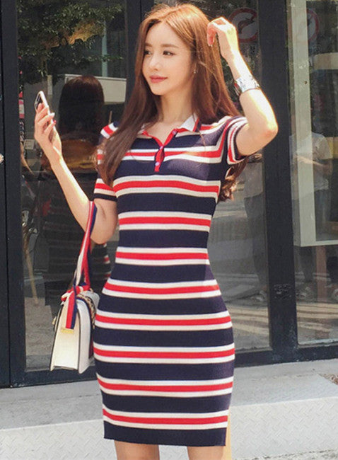 Collar Stripes Slim Dress