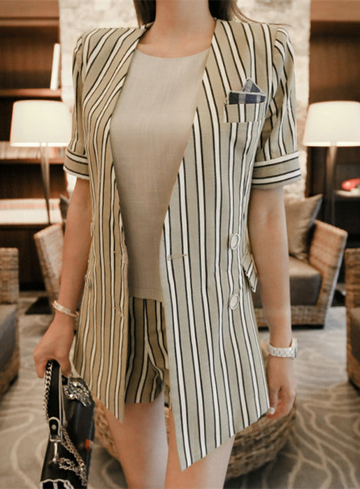 Stripes Short Leisure Suit/ Set CODE: mon454