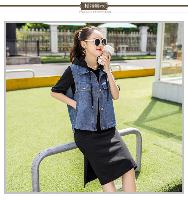 Denim Jacket with Hooded Cotton Dress Set CODE: mon458