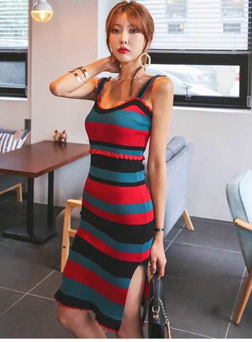 Stripes Fitted knitted Dress CODE: mon488