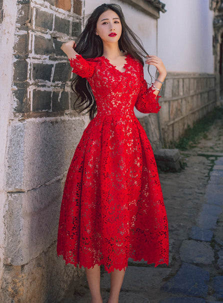 V-neck Fitted Waist long dress red CODE: mon496